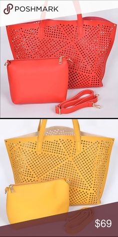"""🌴Summer/Spring Fashion Tote 🌸Adorable trendy laser cut fashion tote that is the perfect bag for the day. Comes with a separate matching color pouch. Material is faux leather and measurements are 19"""" W x 12"""" H x 4.5"""" D. Choose either red or yellow when ordering. Pink Haley Bags Totes"""