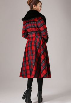 Plaid coat cashmere coat winter coat warm wool coat by xiaolizi