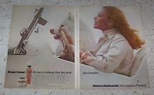 1974 ad page - Helena Rubinstein Cosmetics SUSAN BLAKELY & Samoyed dog 2-PAGE AD
