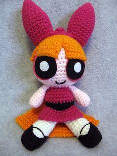 Ravelry: Blossom from Powerpuff Girls pattern by The Nerdy Knitter Crochet Fall, Cute Crochet, Crochet Toys, Amigurumi Doll, Amigurumi Patterns, Crochet Patterns, Knitted Animals, Powerpuff Girls, Loom Knitting