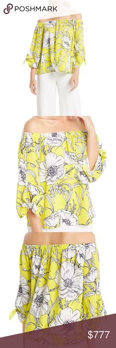 """COMING SOON*Yellow Off the Shoulder Tie Sleeve Top • Yellow off the shoulder tie Sleeve Top. Floral Print. •Model is wearing a size S  • Model's Profile: Height: 5'9"""", Bust: 33"""", Waist: 25"""", Hips:35""""  • Measurements taken from size S  • Length: 19.5"""" Center Front  • 100% Polyester • Sizes: S-M-L  • Hand Wash Cold  • Made in USA *** price will be adjusted upon arrival*** Beabellacouture Tops Blouses"""