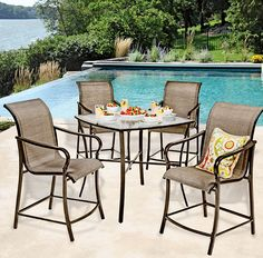 Brunch in the backyard---three seats left! These contemporary pieces from the Southfield Collection make the invitation hard to pass up: 4 sling-fabric high chairs and a tall glass-top dining table, all with sturdy steel frames. Table sold in-store; chairs online. #shopko