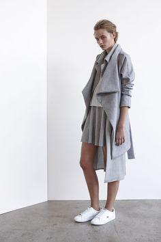 Avalanche Coat | Grey Wonderland Skirt | Grey Revolver Sleeveless Trench | Grey Wing Step Tank | White www.viktoriaandwoods.com.au
