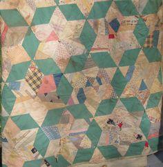Handmade Antique Vintage Quilt Patchwork 6 Pointed Star Green White 66x88 REPAIR