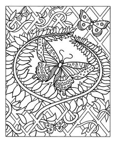 Free coloring page coloring-difficult-butterfly. Adult coloring of a beautiful butterfly, decorated with many eye-pleasing plant patterns, and certainly much to be color!