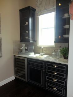 butler's pantry with wine cooler