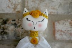Textile Doll Cloth Doll Collectibles Fabric Doll Handmade Girls Unique Cat_Walk Collection by FlowersAndCocoons on Etsy