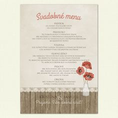 "Svadobné menu ""Poppies"" Unique Invitations, Poppies, Menu, Day, Menu Board Design, Poppy, Menu Cards, Poppy Flowers"