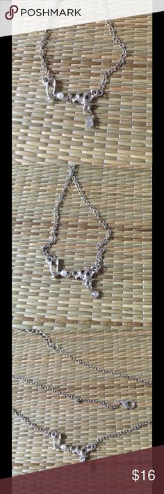 SILVER LOVE PEARL ACCENT CHAIN NECKLACE  Silver, love, pearl accent, chain necklace. Silver plated zinc alloy metal/nickel/lead free. Avoid bathing/sleeping/chemical contact, use soft cloth for cleaning. Reasonable offers welcome, no trades. Thank you for shopping my closet. Jewelry Necklaces