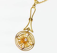 """16"""" 14k Gold Necklace with Diamond and Pearl Sunburst Pendant  #Handmade #Necklace #DiamondandPearlNecklace #golddiamondpearlneclace #goldnecklace #BellmanJewelers #BellmansOnlineStore"""