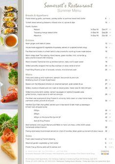 Photography, Design & Printing for Sommerset's Restaurant  #Design, #Menu