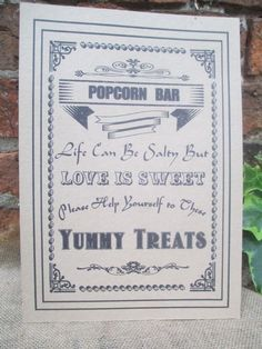 Popcorn Bar Buffet Sign Poster  Love is Sweet Yummy by TheIvoryBow