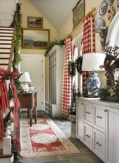 Rustic French country Christmas decor with buffalo plaid and Chinoiserie accents.