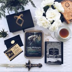 For a second I was going to try and play this cool but then I realized half of you probably heard me pig squeal when I opened up this box today. LADY MIDNIGHT IS WITHIN MY POSSESSION. I DIE! This little box containing 668 pages of one of my top anticipated reads this year an invitation from The Followers of the Guardian The Shadowhunter's Guide to Los Angeles (it's a foldout map) and a key which I like to believe is to Jace's heart showed up just a few minutes ago. (Thank you @simonandsch...