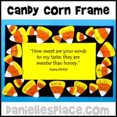 Thanksgiving Sweet Treat Candy Corn Frame Bible Craft for Kids, I think this would be cute to paint the child& hand like a candy corn! Bible Bulletin Boards, October Bulletin Boards, Christian Bulletin Boards, Preschool Bulletin Boards, Bullentin Boards, Sunday School Lessons, Sunday School Crafts, School Daze, Bible Crafts For Kids
