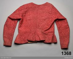 1770's-1790's, jacket, Swedish. Red wool damask, probably imported from England via Norway.