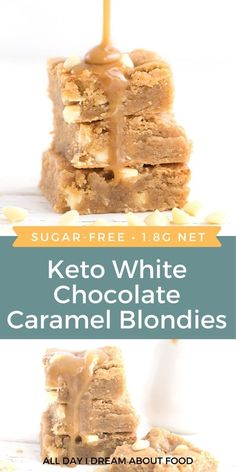 These keto white chocolate blondies with caramel sauce are over-the-top delicious! Gooey, tender, and completely sugar-free.