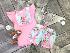 """What's not to love about this darling spring floral short set! Our """"Sarah"""" features a sweet pink top with powder blue floral accents and floral shorts, each ad Toddler Fashion, Toddler Outfits, Kids Fashion, Pink Outfits, Cute Outfits, Girls Dream Closet, Baby Lulu, Pink Kids, Pink Child"""