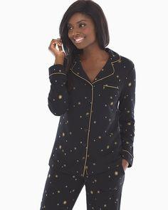 aaf4494a0b Soma Long Sleeve Notch Collar Pajama Top Star Bright Black