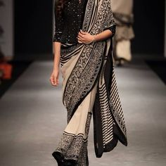 Monochrome for Autumn/winter. Couture from Vineet Bahl Indian Attire, Indian Ethnic Wear, Indian Outfits, Indian Dresses, India Fashion, Ethnic Fashion, Asian Fashion, Black And White Saree, Black White