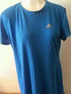 Women's Ultimate Tee ADIDAS crew neck Sport Workout Blue T-shirt Large L #adidas #ShirtsTops