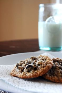 100 Calorie oatmeal dark chocolate chip cookies (with flax!)