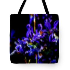 Sunny Tote Bag featuring the digital art Glowing Iris Blue Eight by Mo Barton