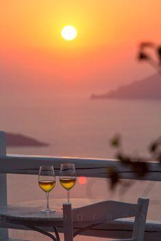 Santorini Wine at Sunset