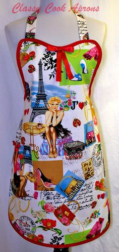 "$36.50. Amazing life-like colors in an ""I <3 Paris"" retro girly screen print apron! The Eiffel Tower, Sidewalk Cafes, Shoes, Gloves, Bags and pretty girls all on a white background with reds, pinks, greens, blues and black in fashions and the sights of Paris.    Love Paris? Ever been? Want to go? Know someone who does? Gift yourself or another special person with this unique print."