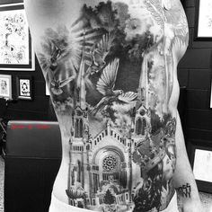 Full side tattoo. Catholic Cathedral and surroundings.