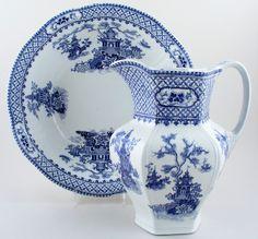 Ewer and Bowl  Fabulous large bowl and hexagonal ewer.