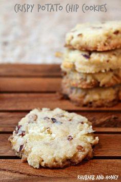 Crispy Potato Chip Cookies - (2 cups +) Buttery, crispy, flaky, nutty — a sort of cross between shortbread and pecan sandies    (add butterscotch?)