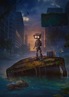 Metal Poster Lonely Robot
