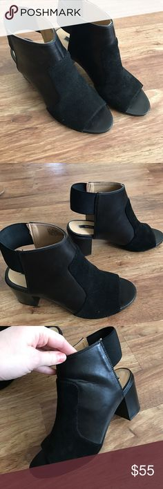 Kensie Block Mule Heels Brand new, worn once, leather Mule block heels. Super cute with dresses and trousers.  Leather and black suede. Size 9.5 but also fit me as a true 10. Kensie Shoes Heeled Boots