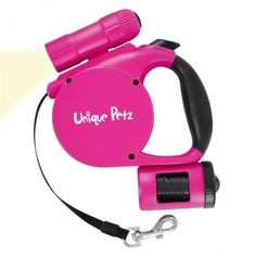 Coleira Retrátil com Lanterna de LED e Porta Saco Plástico - Unique Petz - Petshop