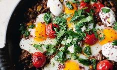 braised eggs with lamb, tahini and sumac