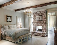 Traditional brick (with a big, rustic mirror above it)