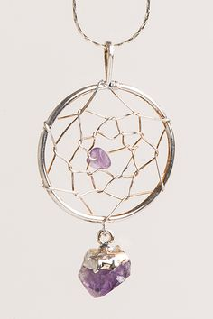 """Materials: Amethyst, Base or plated metals Weight: .1ozs Size-Measurement: 2 1/2""""L X 1 1/2""""W Crystal Joys has the Rocky Mountain region's best selection of over 1000 natural metaphysical healing stone"""