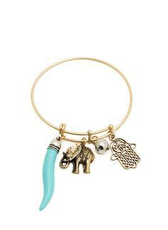 Hamsa Stone 'N Elephant Charm Bangle