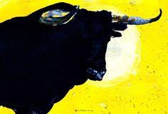 'Toro Gelb Kopf gross 1' von April Turner bei artflakes.com als Poster oder Kunstdruck $27.72
