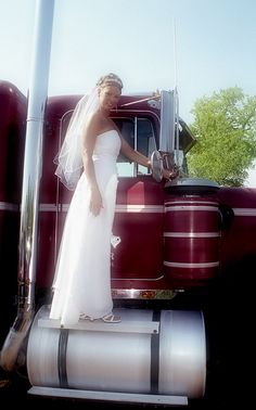 Trucker Wives: Advice and Concerns// i can see my man wanting me to get this pic done with his rig on our wedding day.lol...i would do it for him even tho it a little cheezy