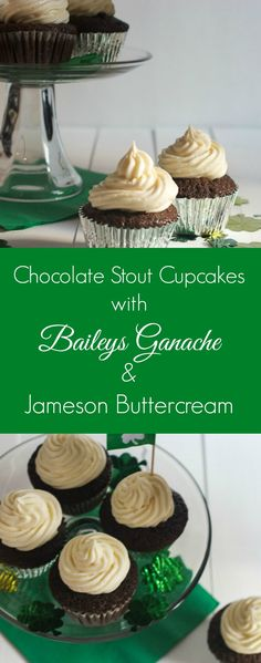 Chocolate Stout Cupcakes with Baileys Ganache and Jameson Buttercream for St. Patrick's Day | girlinthelittleredkitchen.com