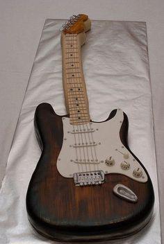 Pastel con diseño de  guitarra