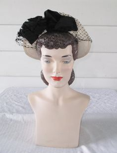 1940s Vintage Panama Straw Hat with Black by MyVintageHatShop