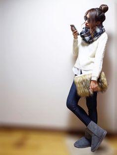 GUのWOMEN ⁄ シューズ「(GU)WOMENムートンタッチブーツ(無地)A」を使ったnyaobuのコーディネートです。WEARはモデル・俳優・ショップスタッフなどの着こなしをチェックできるファッションコーディネートサイトです。