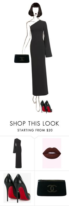 """""""Black Widow 🕷"""" by ladygagafashion ❤ liked on Polyvore featuring Solace, Christian Louboutin and Chanel"""