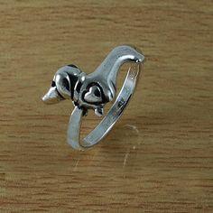 Dachshund Dog Sleek Sterling Silver Ring by handplayart on Etsy, $10.00