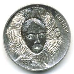Steve Ellsworth - Uyubuga Hobo Nickel, Carving, Wood Carvings, Sculptures, Printmaking, Wood Carving