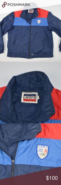 Rare 1984 Levi's LA Olympics Full Zip Jacket Blue Vintage Rare Levi's 1984 LA Olympics Full Zip Jacket  Excellent jacket  Comes from a smoke-free household  Blue and Red  The size is Large and the measurements are 23 inches pit to pit and 26.5 inches shoulder to base   Check out my other items for sale in my store!  D81 Levi's Jackets & Coats Performance Jackets