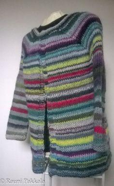 Striped cardigan yarn Kuka Magic Wool DeLuxe, three different shades.